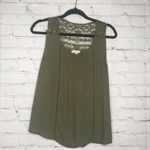 Anthropologie E M olive green lace tank
